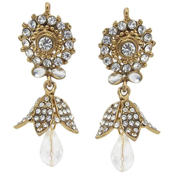 Kriaa Gold Plated Kundan Austrian Stone Jhumki Earrings