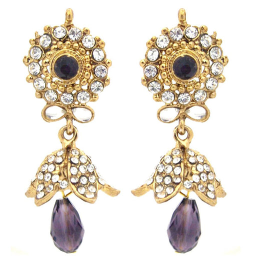 Kriaa Kundan Gold Plated Austrian Stone Jhumki Earrings
