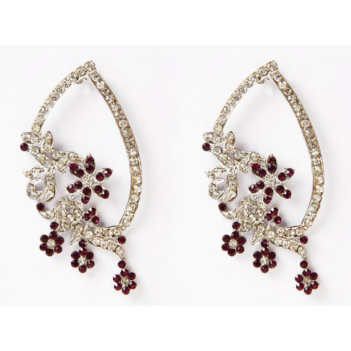 Kriaa Rhodium Plated Stone Floral Design Dangler Earrings