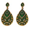 Kriaa Green Meenakari Gold Plated Dangler Earrings