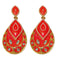 Kriaa Red Meenakari Gold Plated Dangler Earrings