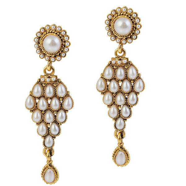 14Fashions Kundan Antique Gold Plated Dangler Earrings