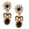 Kriaa Black Pearl Stone Gold Plated Dangler Earrings