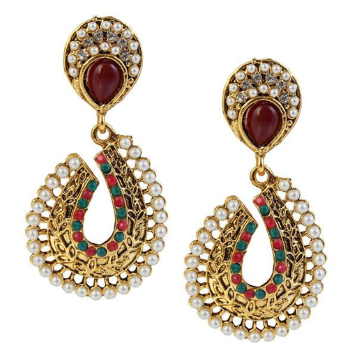 Kriaa Maroon Austrian Stone Dangler Earrings
