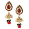 Kriaa Green Pota Stone Antique Gold Plated Jhumki Earrings