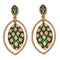 Kriaa Zinc Alloy Gold Plated Green Dangler Earrings