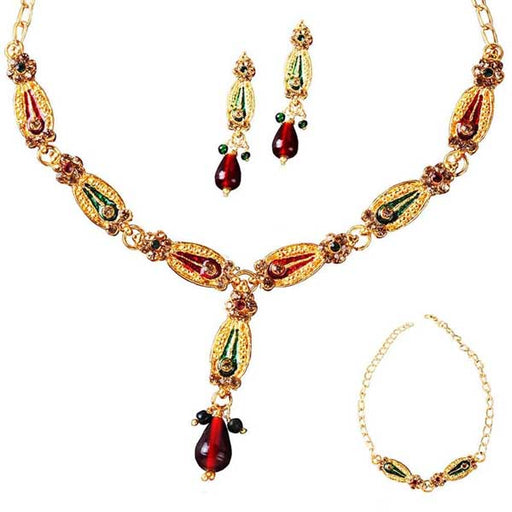 The99Jewel Meenakari Austrian Stone Necklace Set with Bracelet