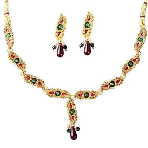 The99Jewel Meenakari Austrian Stone Necklace Set - 1100809 - NB