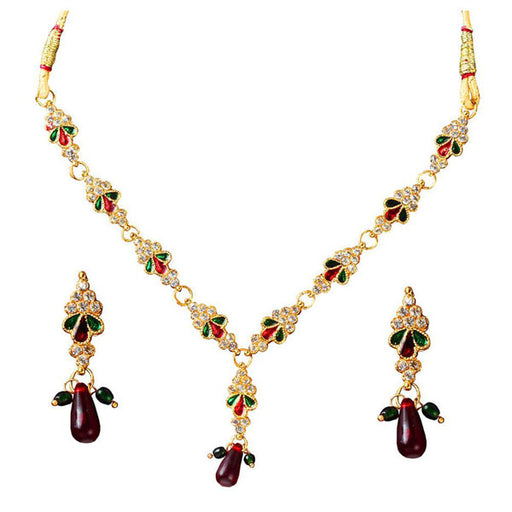 The99Jewel Stone Meenakari Gold Plated Necklace Set