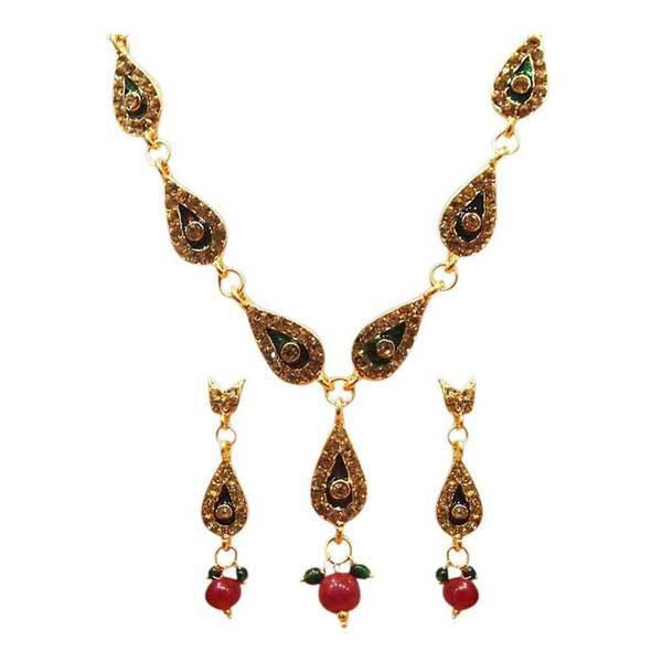 The99Jewel Meenakari Gold Plated Stone Necklace Set - 1100815  - NB