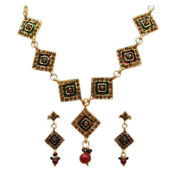 The99Jewel Gold Plated Stone Meenakari Stone Necklace Set - 1100816  - NB