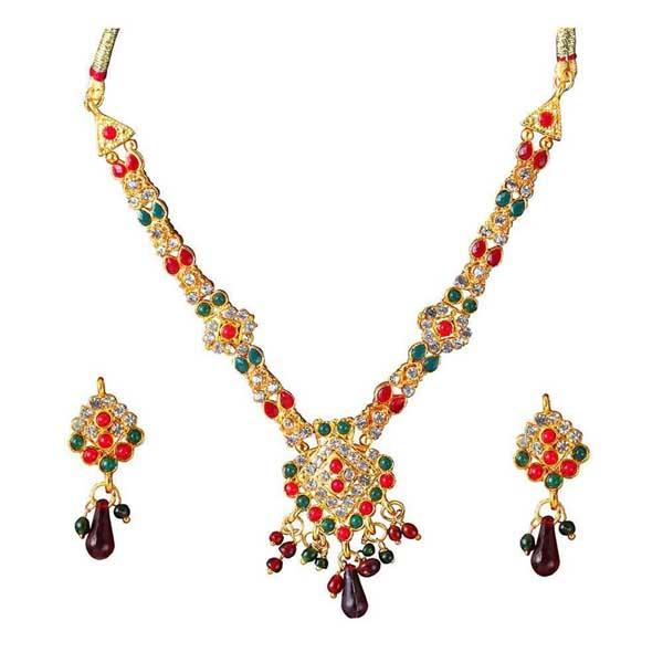 The99Jewel Red & Blue Kundan Stone Necklace Set - 1100822 - ES