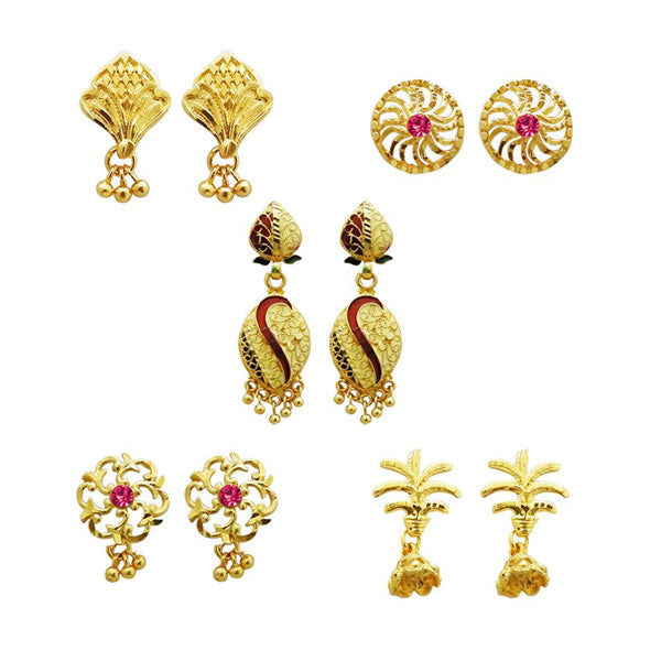 14Fashions Set Of 5 Forming Look Stud Earrings Combo - Jewelmaze.com