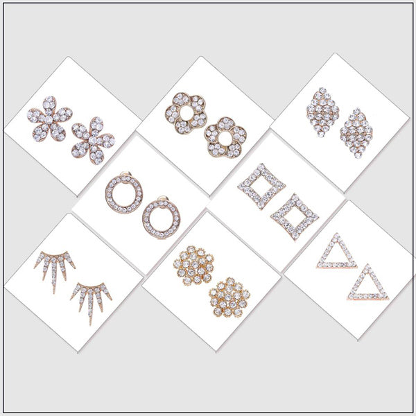 14Fashions Set Of 8 Stud Earrings Combo - Jewelmaze.com