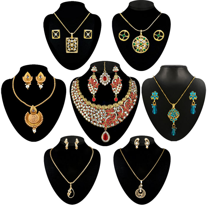 14Fashions Set Of 7 Jewellery Combos - Jewelmaze.com