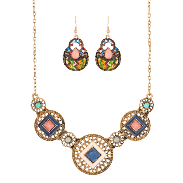 14Fashions Multicolor Resin Stone Necklace Set