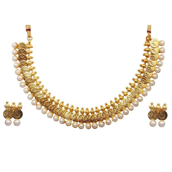 Utkrishtt Pearl Drop Temple Coin Gold Plated Copper Necklace Sets
