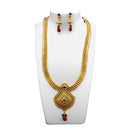 Utkrishtt Gold Plated Green Pota Stone Copper Necklace Set