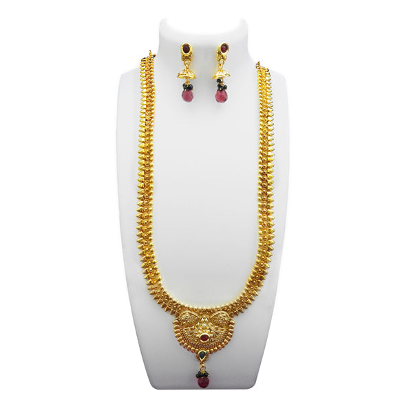 Utkrishtt Gold Plated Maroon Pota Stone Copper Necklace Set