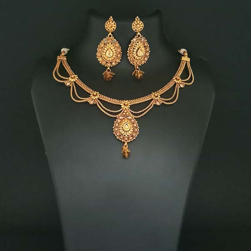 Utkrishtt Brown Austrian Stone Gold Plated Copper Necklace Set