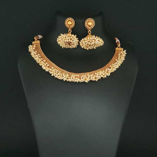 Utkrishtt Gold Plated Pearl Copper Necklace Set