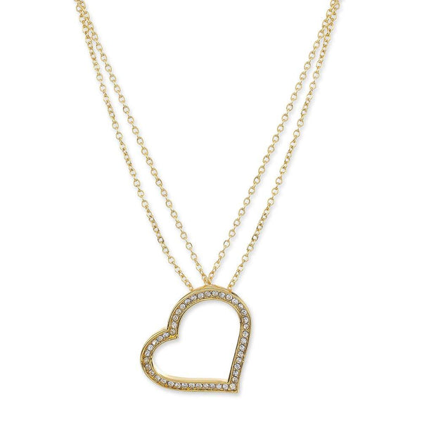 Estele 24Kt Gold Plated White Austrian Crystal Heart Shaped Double Chain Pendant
