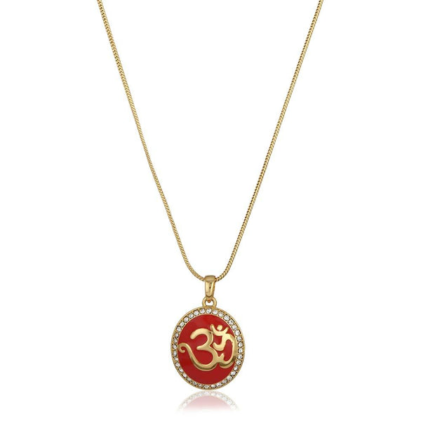 Estele 24Kt Gold Tone Plated Red Enamel Om Pendant Chain With Austrian Crystals