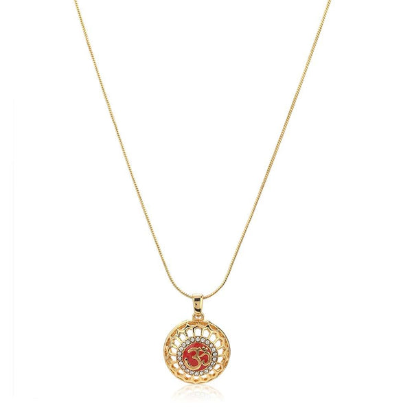 Estele 24Kt Gold Tone Plated Round Shaped Red Enamel Om Pendant Chain With Austrian Crystals