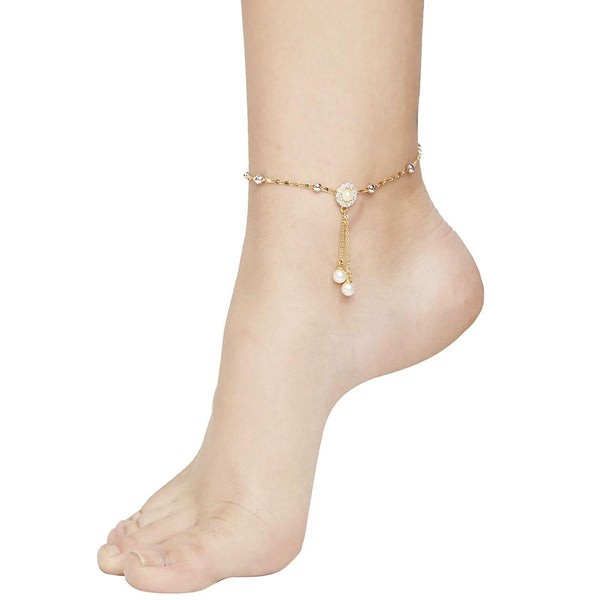 Mahi Delicate Anklet with Artificial Pearl