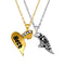 Mahi Valentine Crystal Best Friend Broken Heart Gold Rhodium Plated Pendant
