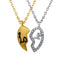 Mahi Valentine Crystal Love Broken Heart Gold Rhodium Plated Pendant
