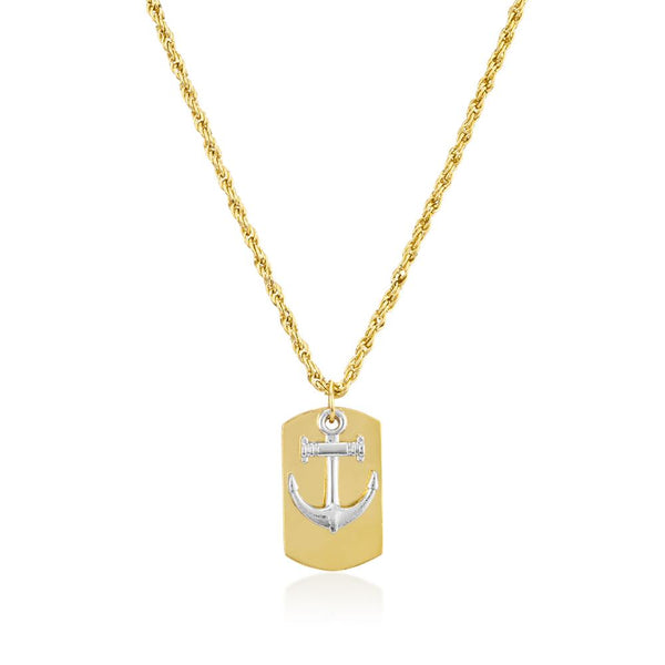 Mahi Gold Plated Anchor Dog Tag Locket For Men