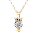Mahi Gold Plated Valentine Gift Hooting Nocturnal Owl Pendant with Crystals for women
