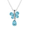 Mahi Rhodium Plated Valentine Gift Carefree Butterfly Pendant with Aqua Blue Crystals
