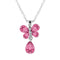 Mahi Rhodium Plated Valentine Gift Carefree Butterfly Pendant with Pink Crystals