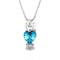 Mahi Rhodium Plated Valentine Gift Heart Pendant with Aqua Blue Crystal and Girls