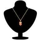 Mahi Gold Plated Nocturnal Owl Pendant with carrot red crystals for girls and women