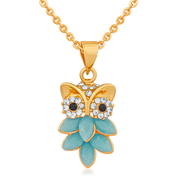 Mahi Gold Plated Nocturnal Owl Pendant with blue crystals for girls and women