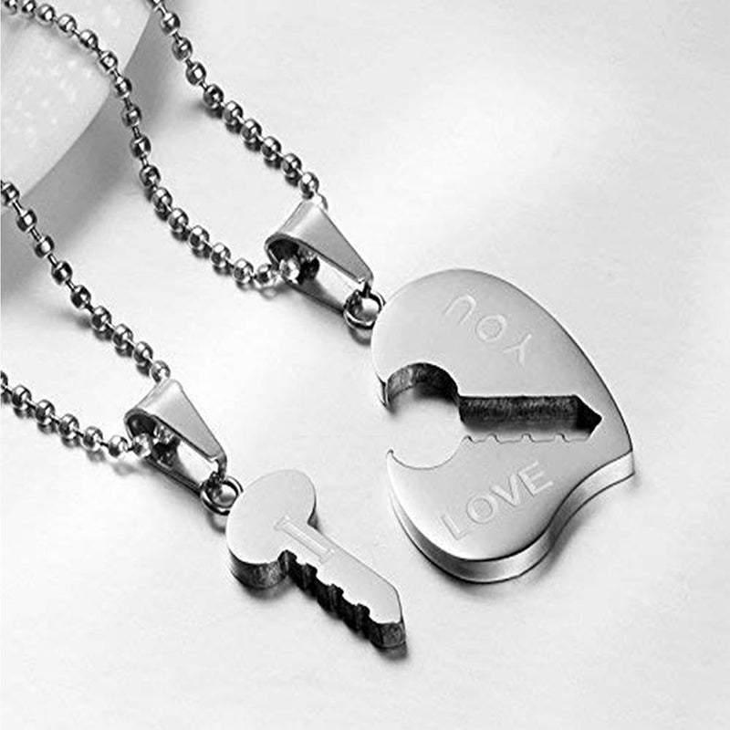 Mahi Rhodium Plated Eternal Love Heart And Key Unisex Pendant Combo