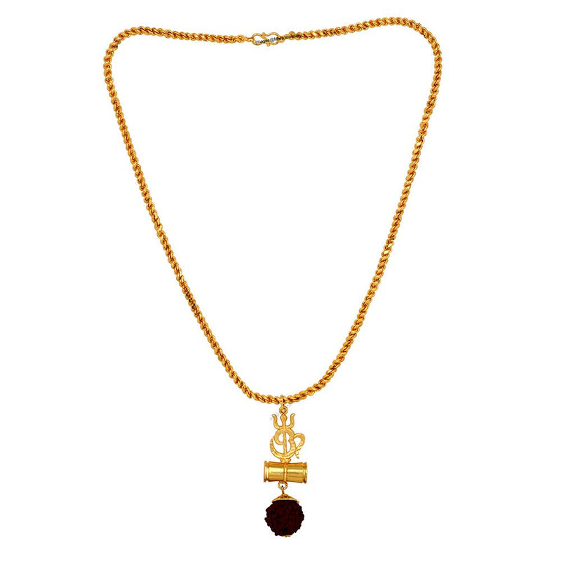 Mahi OM Trishul and Shiva Damru Religious Rudraksha Pendant with 20 Inch Rope Chain for Men and Women PS1101713G