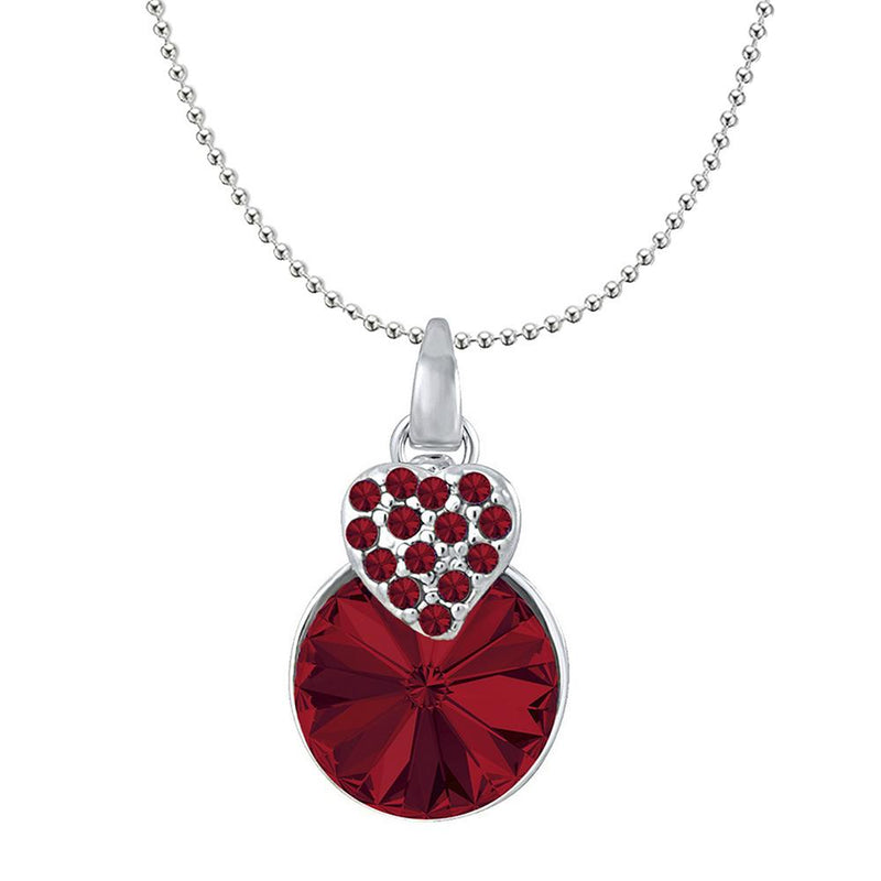 Mahi Heart Pendant Made with Light Red Swarovski Crystals