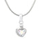 Mahi Valentine Gift Rhodium Plated White AB Heart Pendant Made with Swarovski Crystals