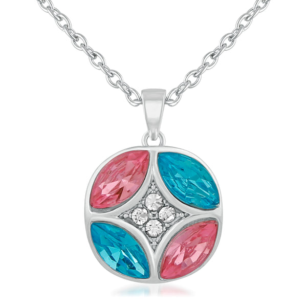 Mahi Rhodium Plated Glorious Multicolour Crystal Pendant for girls and women
