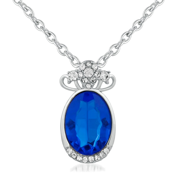 Mahi Rhodium Plated Exclusive Blue Solitaire Crystal Pendant for girls and women