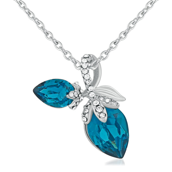 Mahi Rhodium Plated Exquisite Blue Solitaire Pendant for girls and women