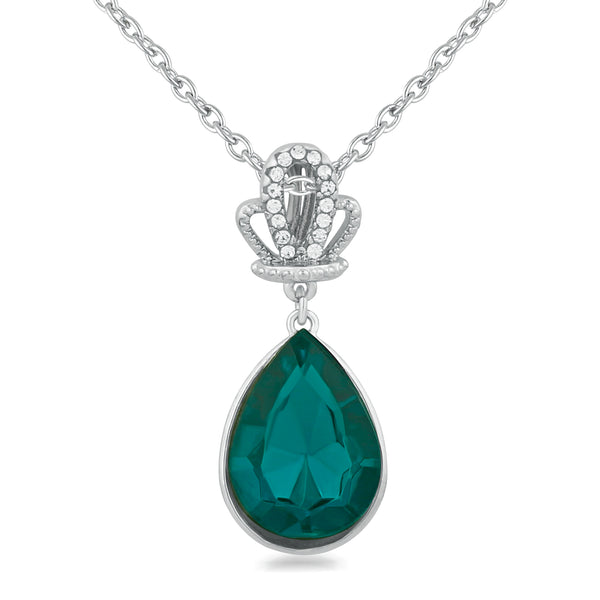 Mahi Rhodium Plated Designer Solitaire Green Crystal Pendant for girls and women
