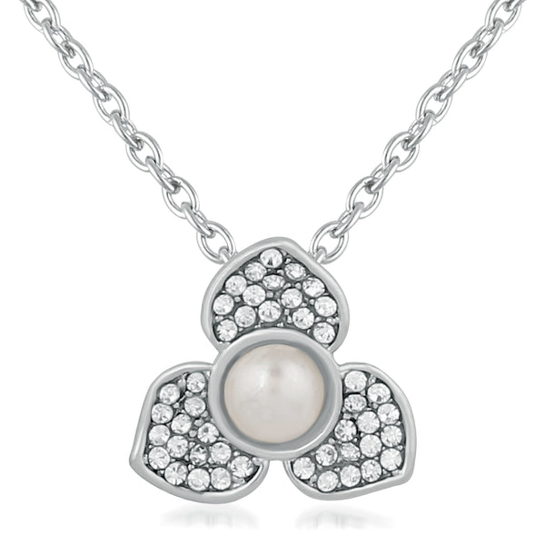Mahi Rhodium Plated Lovely Floral Crystal Pendant for girls and women