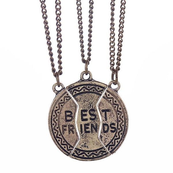 Mahi Gold Plated Designer Combo of Three Best Friends forever Unisex pendant