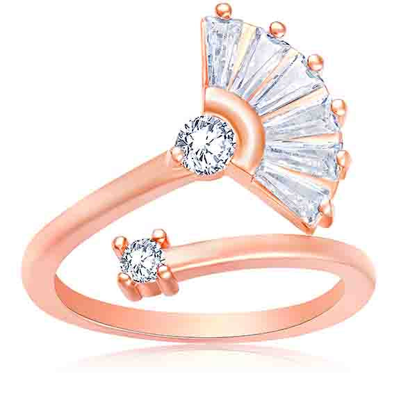 Asmitta Marvellous Adjustable Finger Ring Alloy Cubic Zirconia Rose Gold Plated Finger Ring
