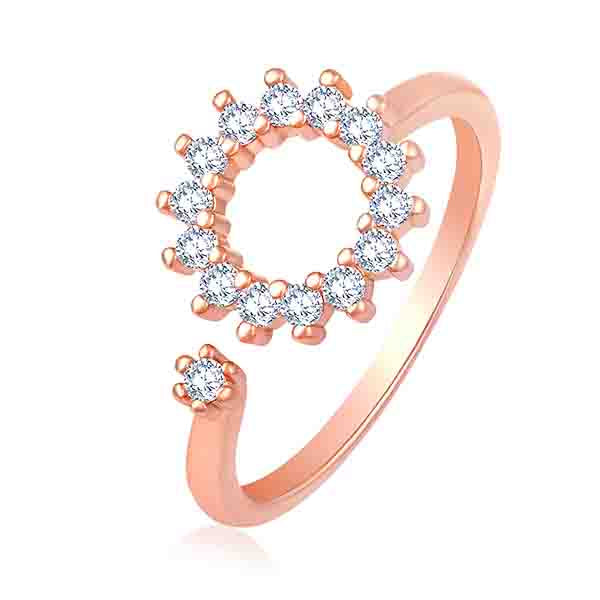 Asmitta Blooming Flower shaped cats eye stone finger ring Alloy Crystal rose Gold Plated Ring